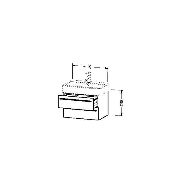 Duravit X-Large Waschtischunterschrank wandhängend B:55xH:44,8xT:44,3 cm mit 2 Schubkästen flannel grey hochglanz XL634408989
