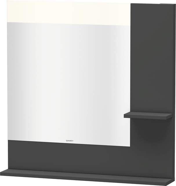 Duravit Vero Spiegel mit LED-Beleuchtung B:80xH:80xT:14,2cm mit Ablagen rechts und unten graphit matt VE732104949