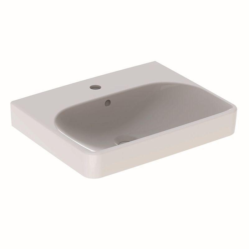 Geberit Smyle Square Waschtisch 55x44cm mit Hahnloch mit Überlauf weiß mit KeraTect 500259018