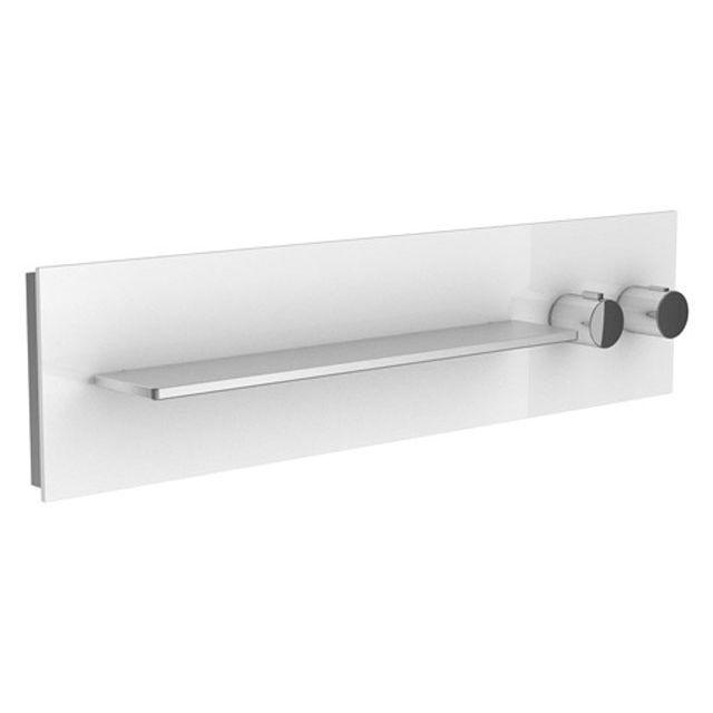 Keuco meTime_spa Thermostatbatterie DN 20 Griffe rechts Ablage links für 2 Verbraucher Glas weiß satiniert 56162012702