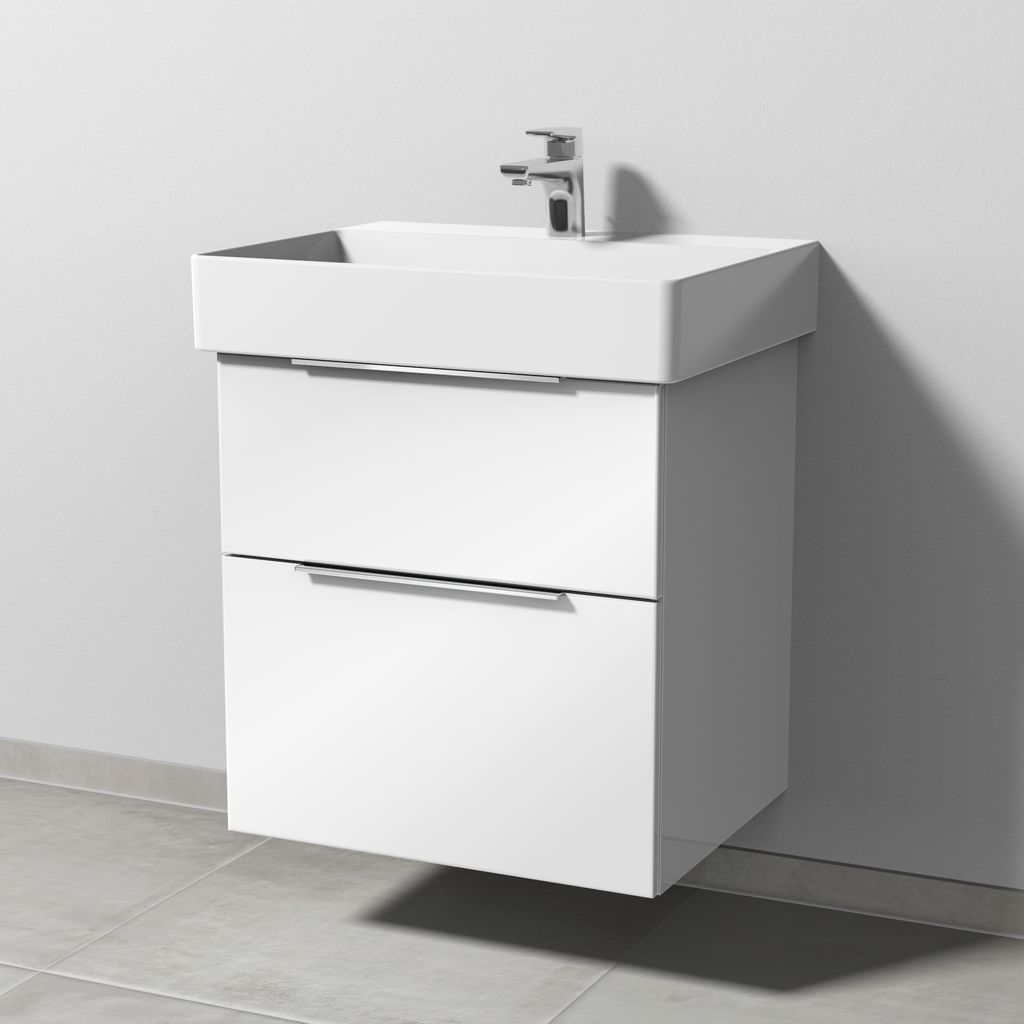 Sanipa 3way Waschtischunterbau mit Auszügen (UF426) H:58,8xB:55xL:44,7cm Weiß-Glanz UF42678