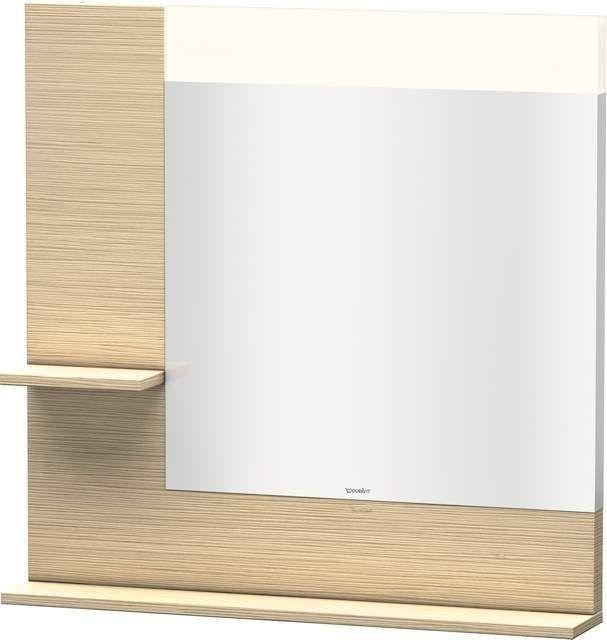 Duravit Vero Spiegel mit LED-Beleuchtung B:80xH:80xT:14,2cm mit Ablagen links und unten eiche gebürstet VE731101212