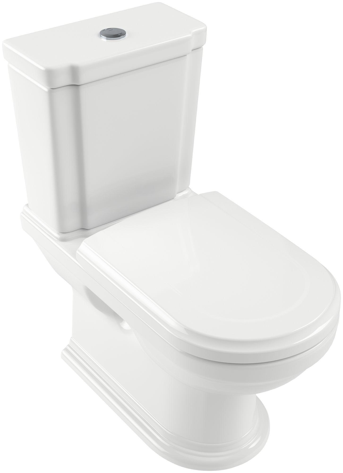 Villeroy & Boch Hommage Tiefspül-Stand-WC für Aufsatzspülkasten L:72,5xB:37cm Weiß Alpin mit Ceramicplus 666210R1