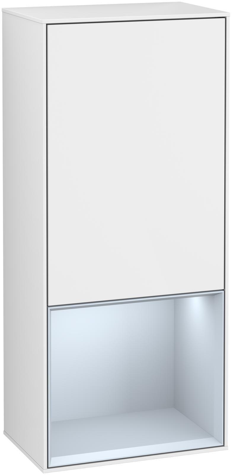 Villeroy & Boch Finion F55 Seitenschrank mit Regalelement 1 Tür Anschlag rechts LED-Beleuchtung B:41,8xH:93,6xT:27cm Front, Korpus: Glossy White Lack, Regal: Cloud F550HAGF