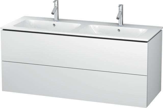 Duravit L-Cube Waschtischunterschrank wandhängend B:129xH:55xT:48,1 cm mit 2 Schubkästen weiß matt LC625801818