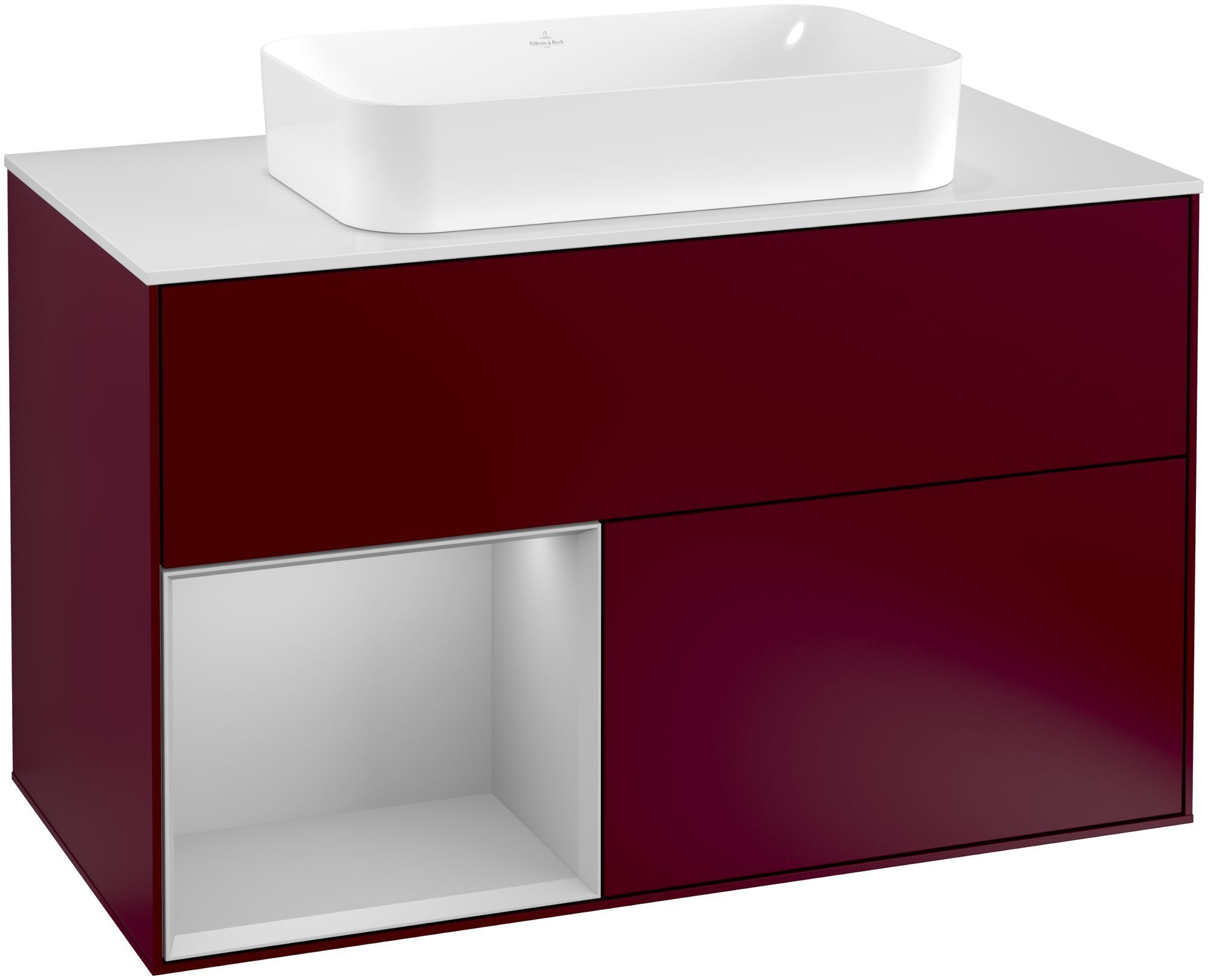 Villeroy & Boch Finion G24 Waschtischunterschrank mit Regalelement 2 Auszüge für WT mittig LED-Beleuchtung B:100xH:60,3xT:50,1cm Front, Korpus: Peony, Regal: Light Grey Matt, Glasplatte: White Matt G241GJHB