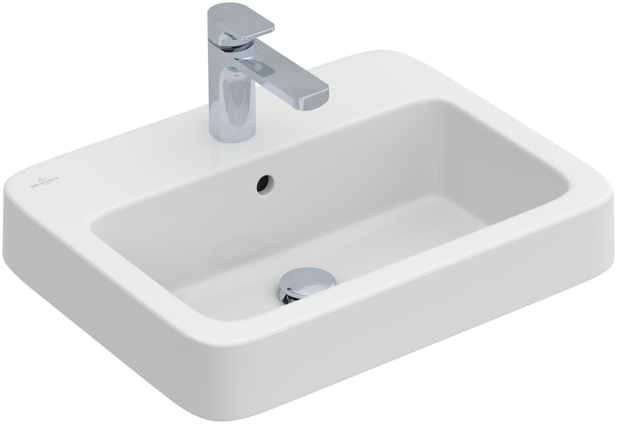 Villeroy & Boch Architectura Einbauwaschtisch B:55xT:43cm mit Überlauf 1 Hahnloch weiß Ceramicplus 419355R1