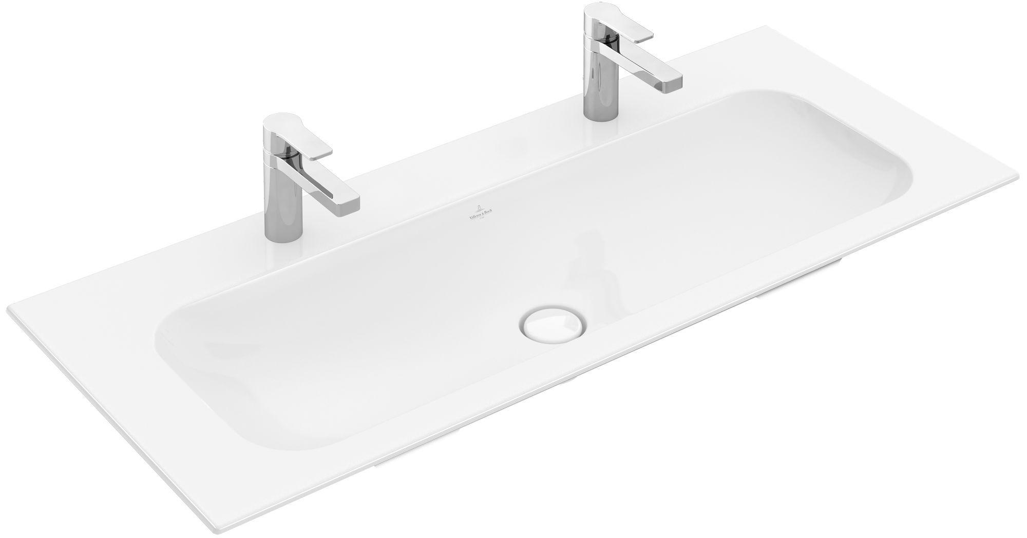 Villeroy & Boch Finion Schrankwaschtisch ohne Überlauf 2x1 Hahnloch B:120xT:50cm ohne Überlauf 2x1 Hahnloch weiß Ceramicplus 4164C1R1