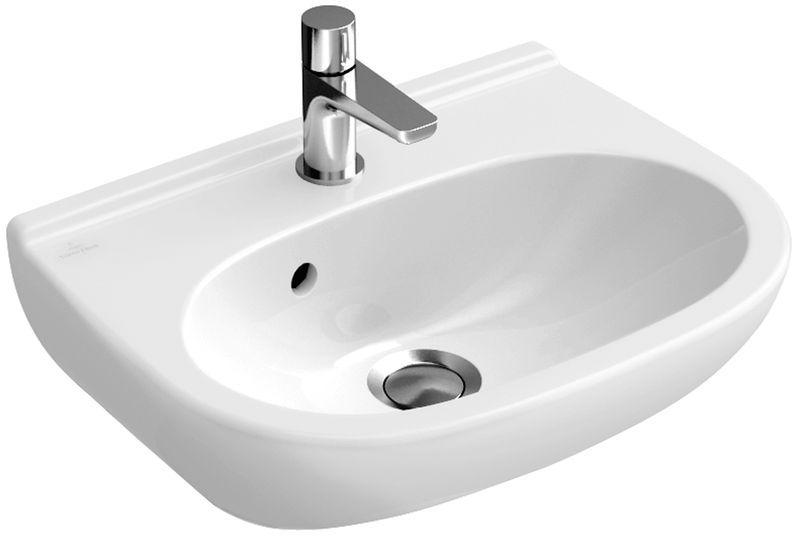 Villeroy & Boch O.novo Handwaschbecken B:50xT:40cm ohne Hahnloch mit Überlauf weiß mit Ceramicplus 536052R1