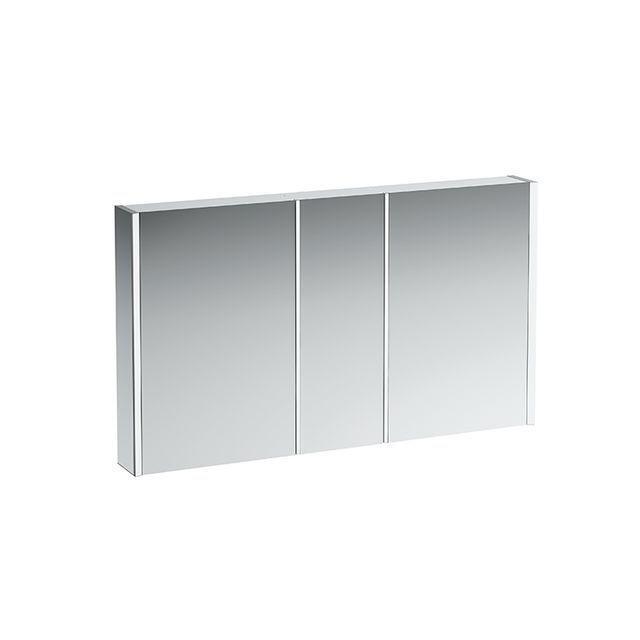 Laufen Frame 25 Spiegelschrank mit Ambiente Licht unten B:130xH:78xT:15cm Seitenteile weiß glänzend H4087549001451
