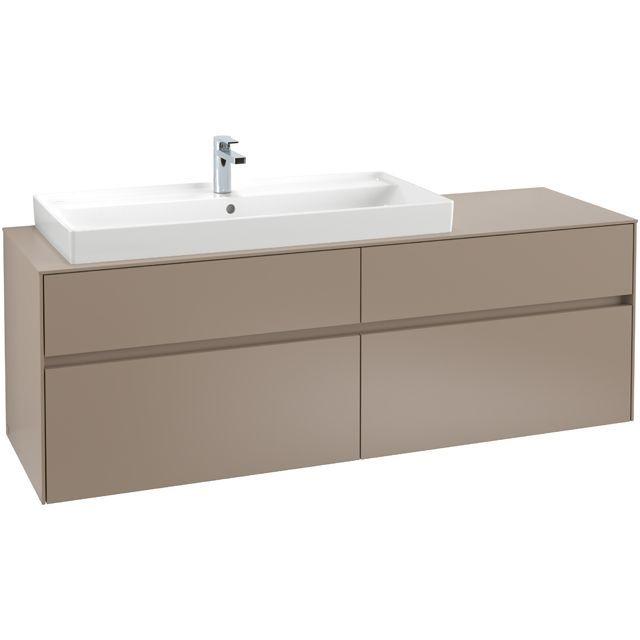 Villeroy & Boch Waschbeckenunterschrank Collaro C02900, 1600 x 548 x 500 mm, 4 Auszüge, Waschbecken links, Glossy White C02900DH