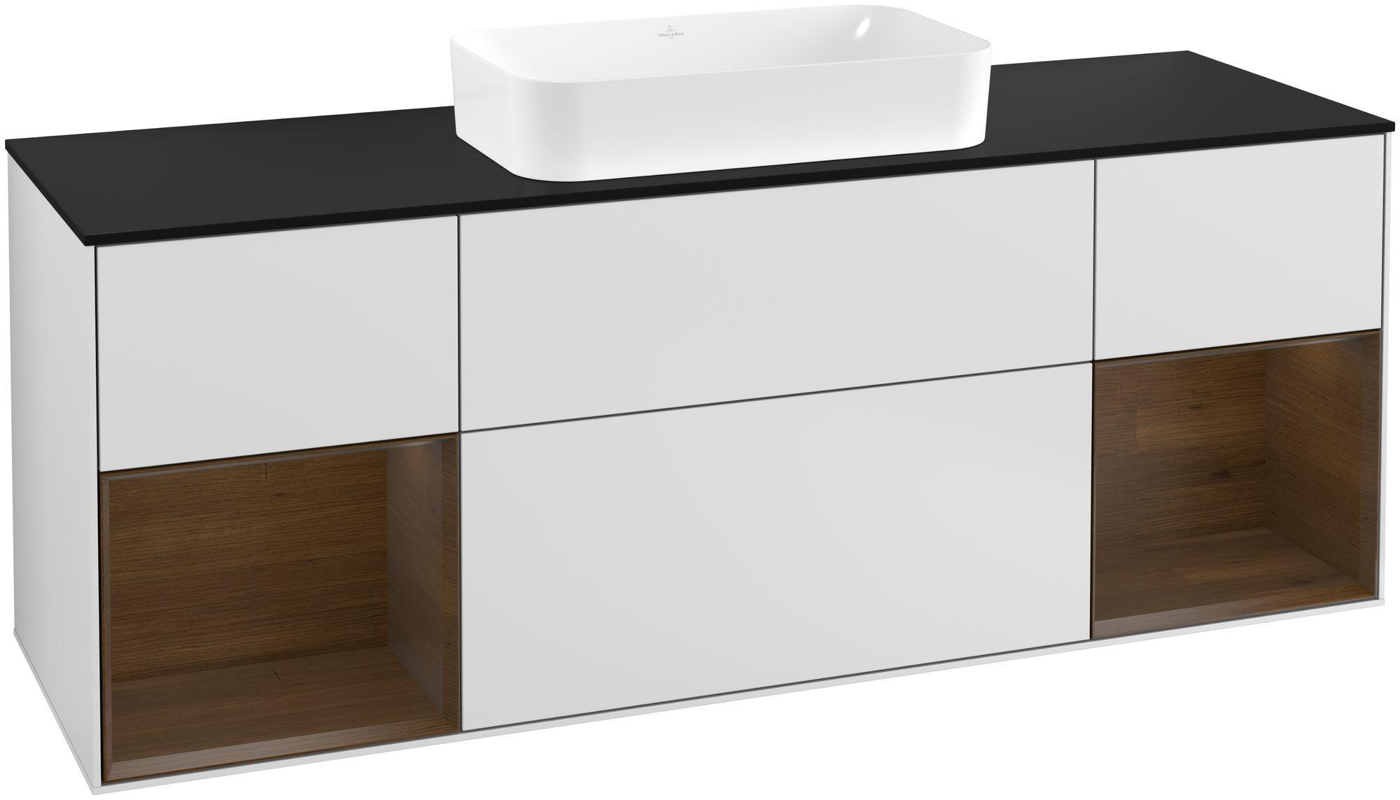 Villeroy & Boch Finion G33 Waschtischunterschrank mit Regalelement 4 Auszüge Waschtisch mittig LED-Beleuchtung B:160xH:60,3xT:50,1cm Front, Korpus: Weiß Matt Soft Grey, Regal: Walnut Veneer, Glasplatte: Black Matt G332GNMT