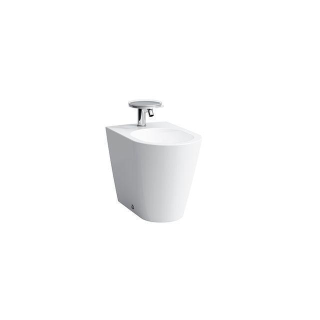 Laufen Kartell by Laufen Stand-Bidet L:54,5xB:37xH:43cm 1 Hahnloch mittig mit Überlaufventil Anschluss innen weiß mit CleanCoat LCC H8323314003021