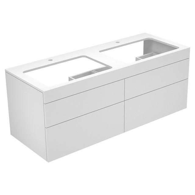 Keuco Edition 400 Waschtischunterbau mit Hahnlochbohrung 4 Auszüge 1400 x 546 x 535 mm cashmere/Glas cashmere satiniert 31575280100