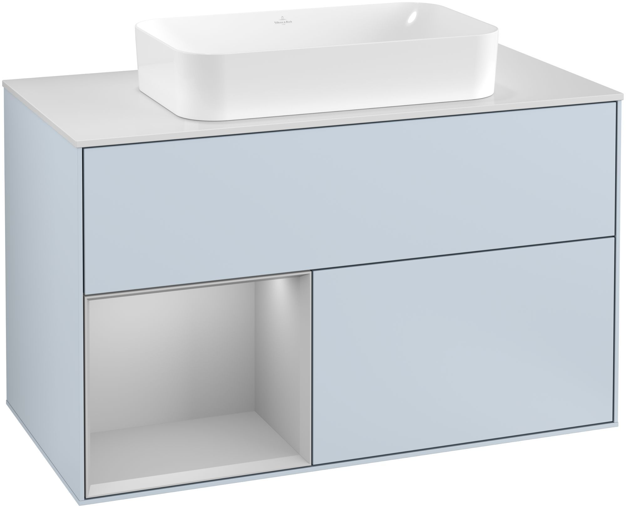 Villeroy & Boch Finion G24 Waschtischunterschrank mit Regalelement 2 Auszüge für WT mittig LED-Beleuchtung B:100xH:60,3xT:50,1cm Front, Korpus: Cloud, Regal: Light Grey Matt, Glasplatte: White Matt G241GJHA