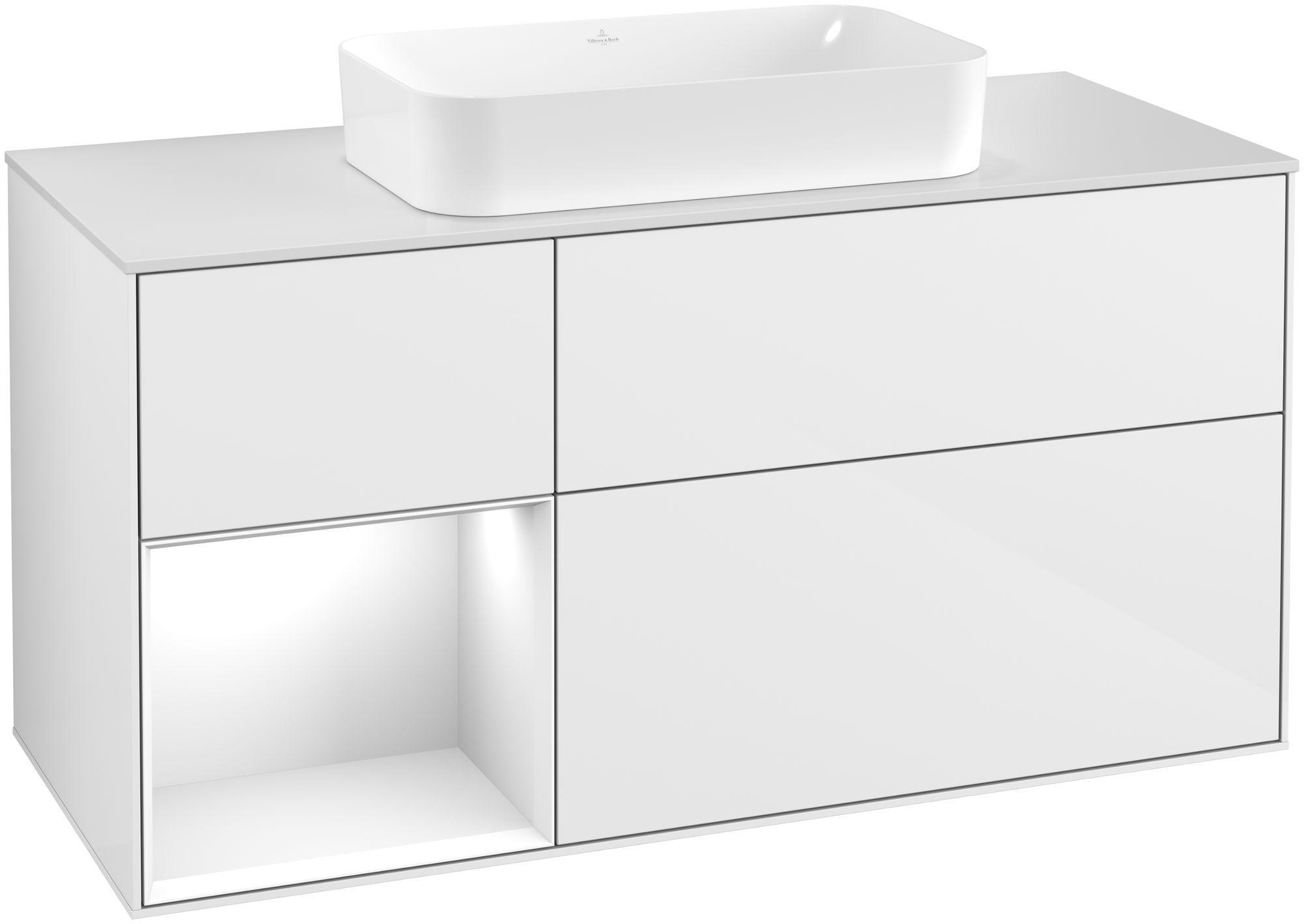 Villeroy & Boch Finion F29 Waschtischunterschrank mit Regalelement 3 Auszüge Waschtisch mittig LED-Beleuchtung B:120xH:60,3xT:50,1cm Front, Korpus: Glossy White Lack, Glasplatte: White Matt F291GFGF