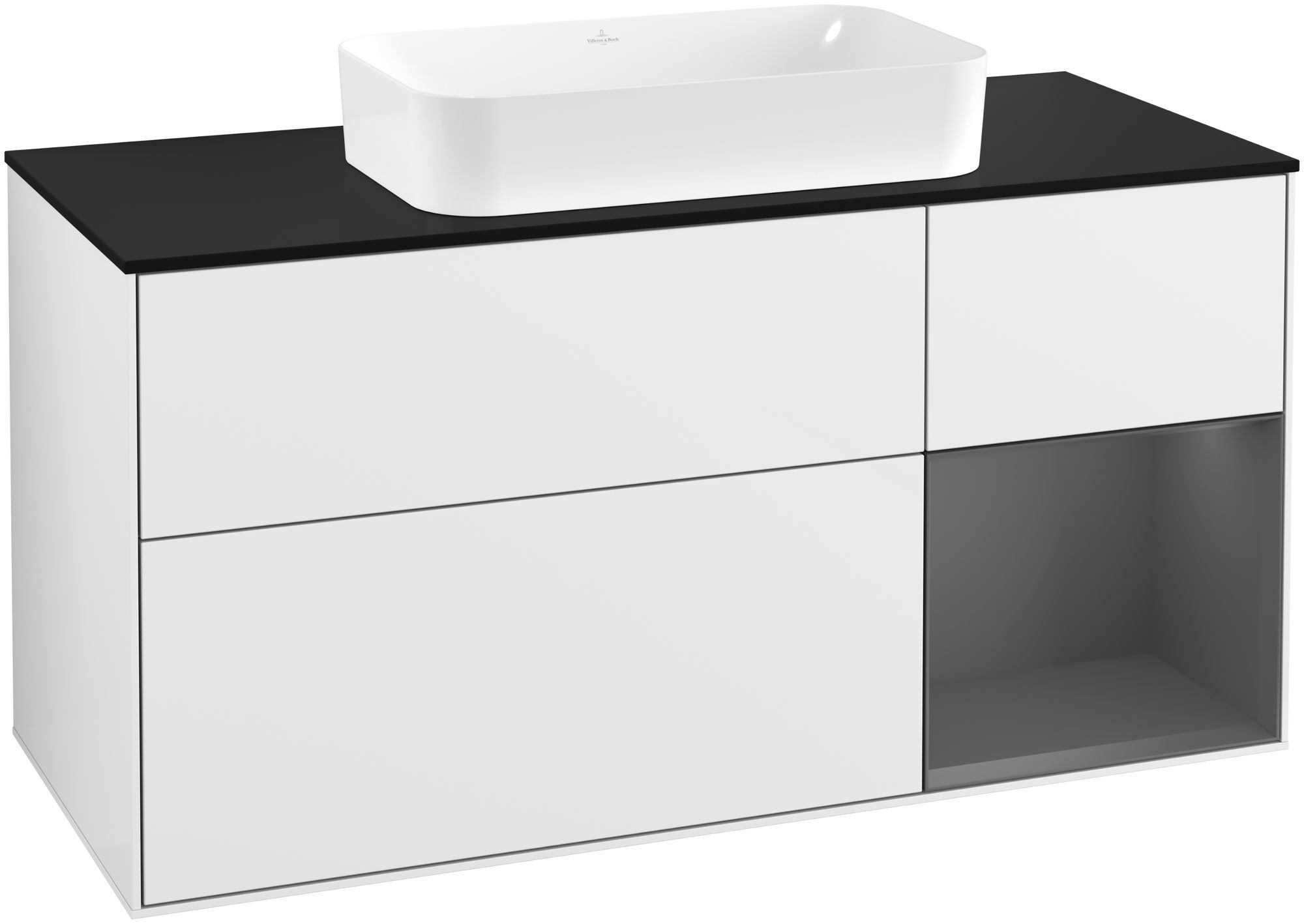 Villeroy & Boch Finion F30 Waschtischunterschrank mit Regalelement 3 Auszüge für WT mittig LED-Beleuchtung B:120xH:60,3xT:50,1cm Front, Korpus: Glossy White Lack, Regal: Anthracite Matt, Glasplatte: Black Matt F302GKGF