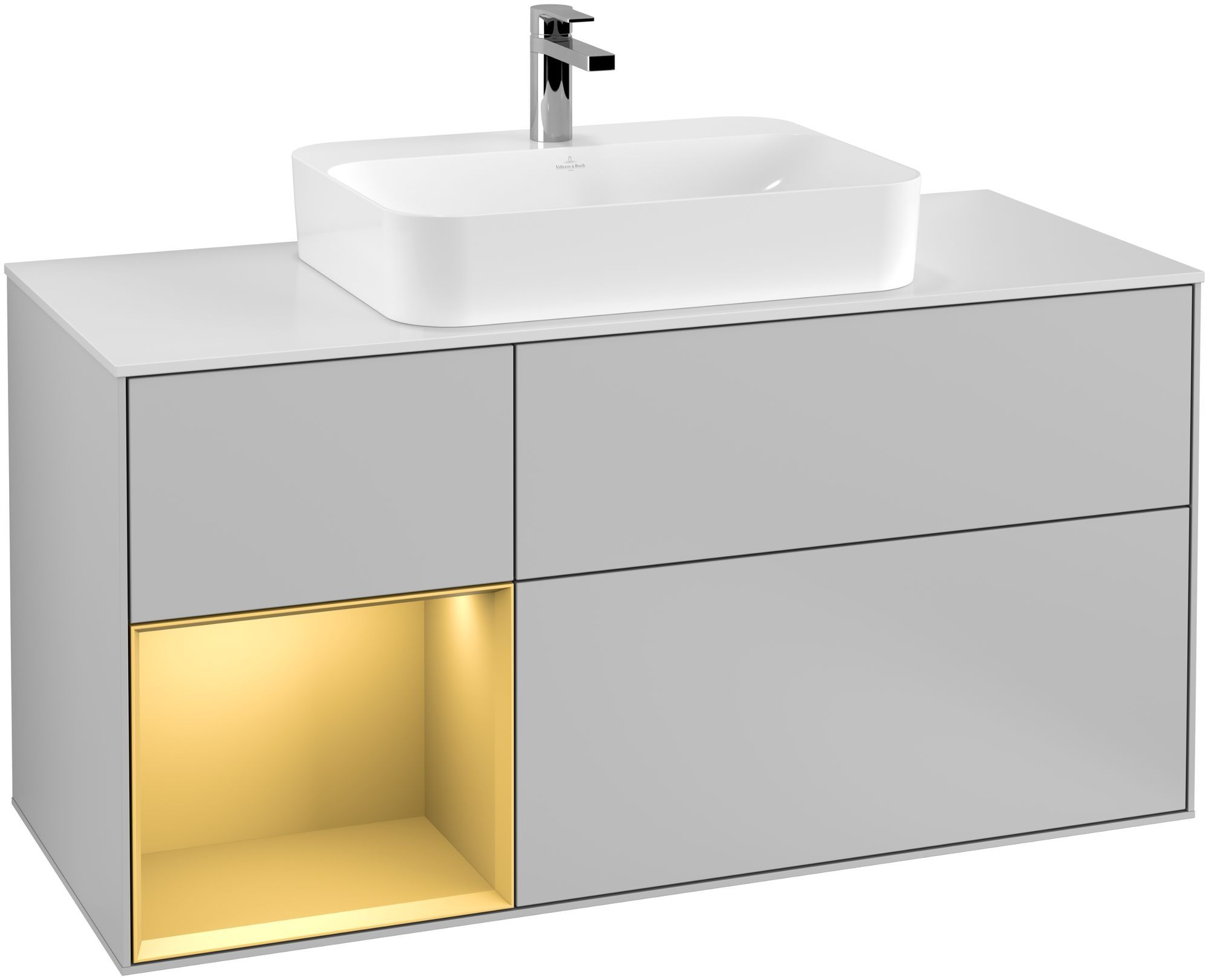 Villeroy & Boch Finion G41 Waschtischunterschrank mit Regalelement 3 Auszüge Waschtisch mittig LED-Beleuchtung B:120xH:60,3xT:50,1cm Front, Korpus: Light Grey Matt, Regal: Gold Matt, Glasplatte: White Matt G411HFGJ