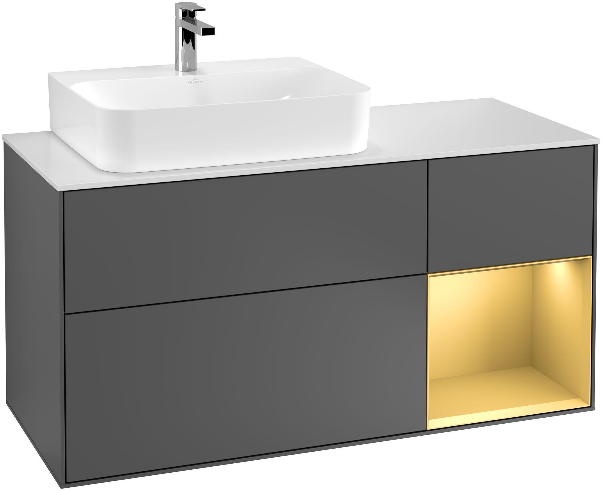 Villeroy & Boch Finion G15 Waschtischunterschrank mit Regalelement 3 Auszüge Waschtisch links LED-Beleuchtung B:120xH:60,3xT:50,1cm Front, Korpus: Anthracite Matt, Regal: Gold Matt, Glasplatte: White Matt G151HFGK