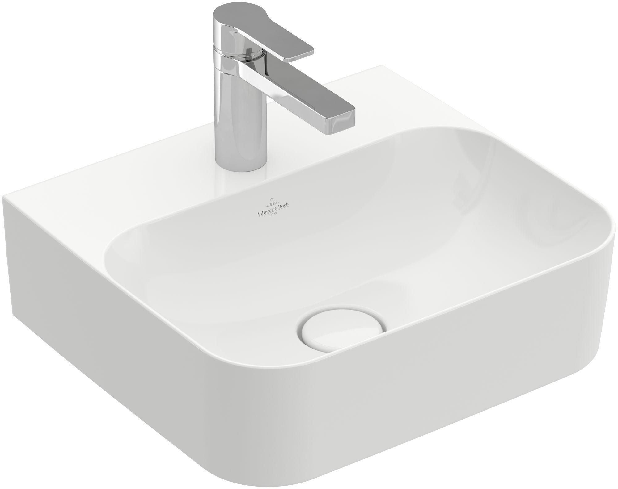 Villeroy & Boch Finion Handwaschbecken ohne Überlauf 1 Hahnloch B:43xT:39cm ohne Überlauf 1 Hahnloch weiß Ceramicplus 43644LR1