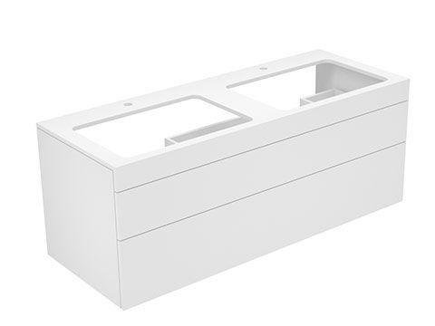 Keuco Edition 400 Waschtischunterbau mit Hahnlochbohrung 2 Auszüge 1400 x 546 x 535 mm weiß/Glas petrol satiniert 31574790100