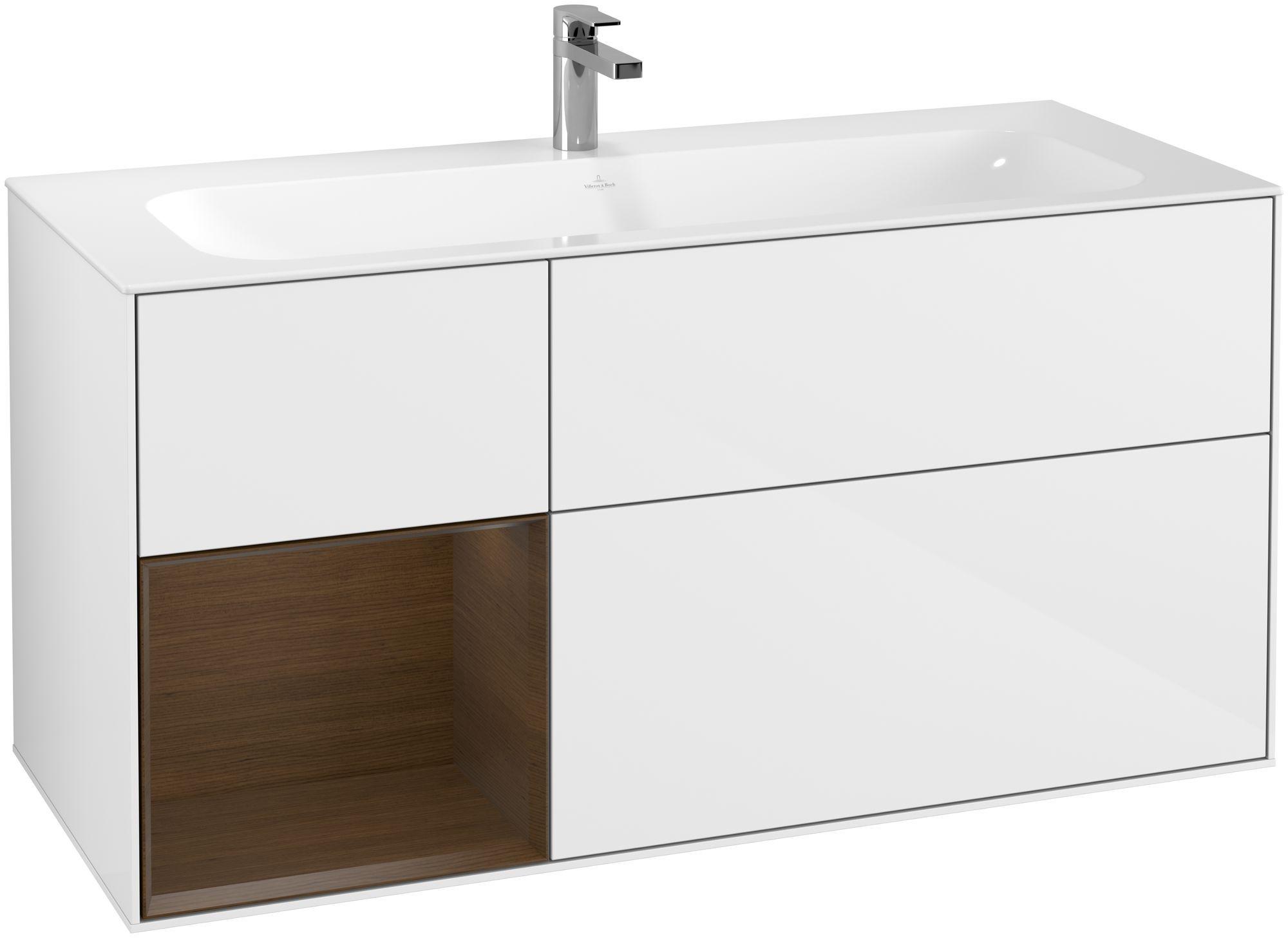 Villeroy & Boch Finion F06 Waschtischunterschrank mit Regalelement 3 Auszüge LED-Beleuchtung B:119,6xH:59,1xT:49,8cm Front, Korpus: Glossy White Lack, Regal: Walnut Veneer F060GNGF