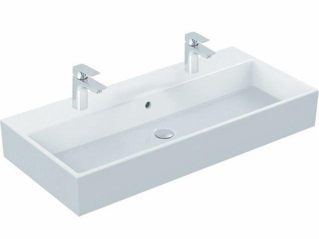 Ideal Standard Strada Waschtisch B:91xT:42xH:15cm 2 Hahnlöcher mit Überlauf weiß K087701