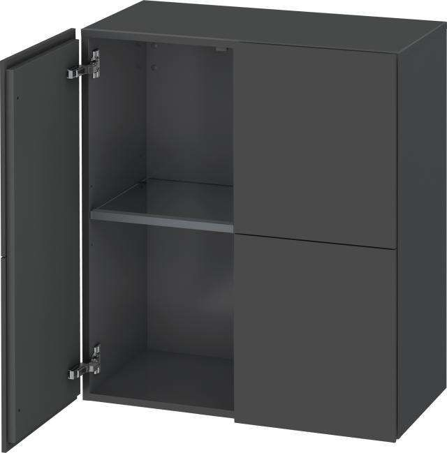 Duravit L-Cube Halbhochschrank B:70xH:80xT:36,3cm 2 Türen graphit matt LC117704949 - MAIN
