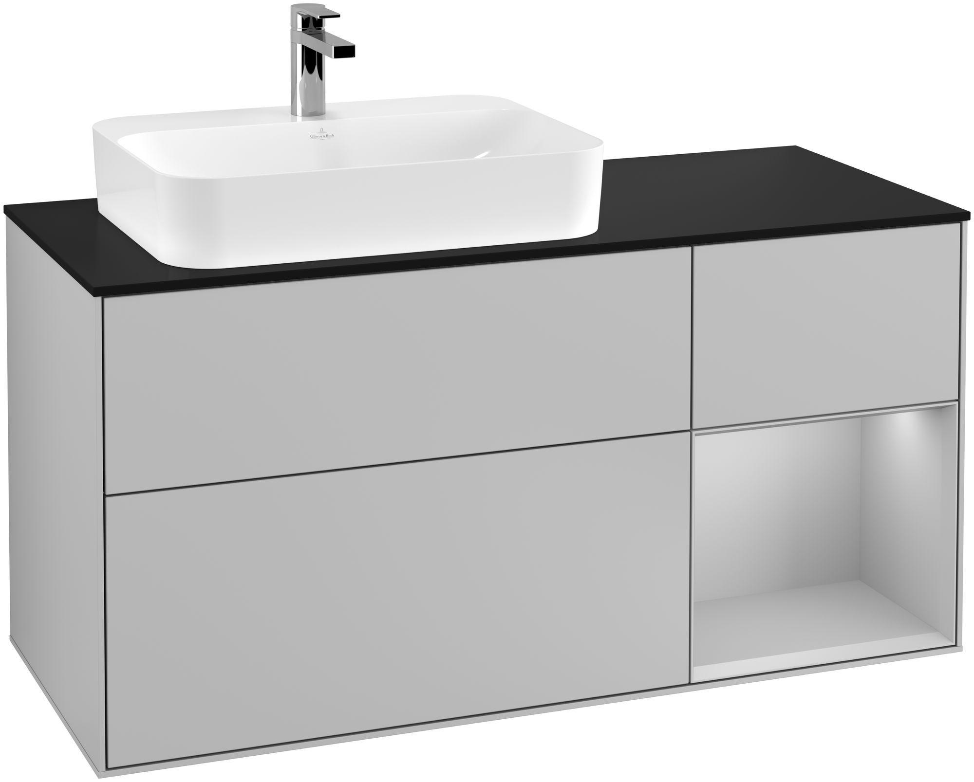 Villeroy & Boch Finion G40 Waschtischunterschrank mit Regalelement 3 Auszüge Waschtisch links LED-Beleuchtung B:120xH:60,3xT:50,1cm Front, Korpus: Light Grey Matt, Glasplatte: Black Matt G402GJGJ