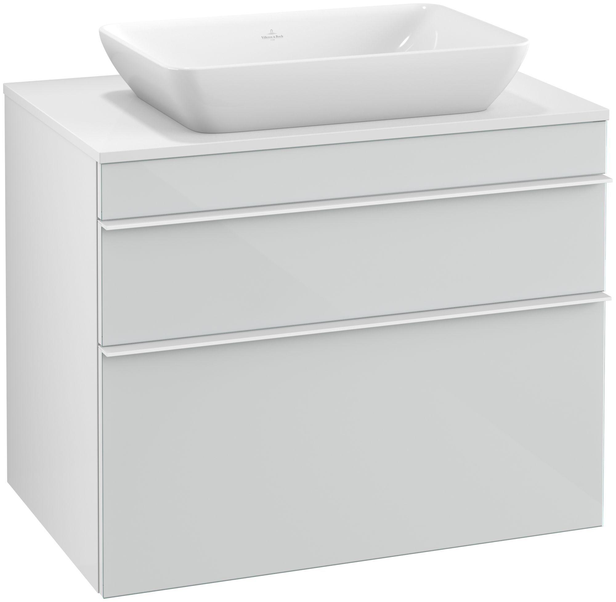 Villeroy & Boch Venticello Waschtischunterschrank für Waschtisch mittig 2 Auszüge B:75,7xH:43,6xT:50,2cm Glas glossy white Griffe white Griffe weiß A94002RE