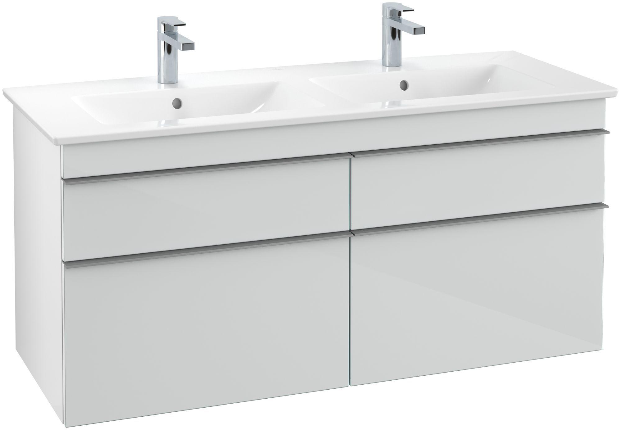Villeroy & Boch Venticello Waschtischunterschrank 4 Auszüge B:125,3xH:59xT:50,2cm Glas glossy white Griffe grey Griffe grau A93003RE