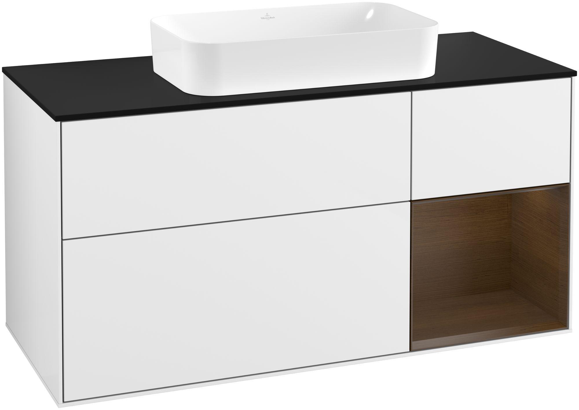 Villeroy & Boch Finion F30 Waschtischunterschrank mit Regalelement 3 Auszüge Waschtisch mittig LED-Beleuchtung B:120xH:60,3xT:50,1cm Front, Korpus: Glossy White Lack, Regal: Walnut Veneer, Glasplatte: Black Matt F302GNGF