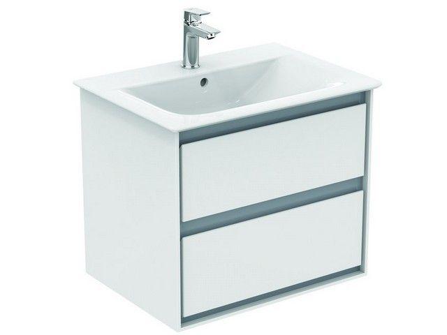 Ideal Standard Connect Air Möbelwaschtisch B:64xH:16,5xT:46 cm 1 Hahnloch mittig mit Überlauf Feinfeuerton weiß mit Ideal Plus E0289MA