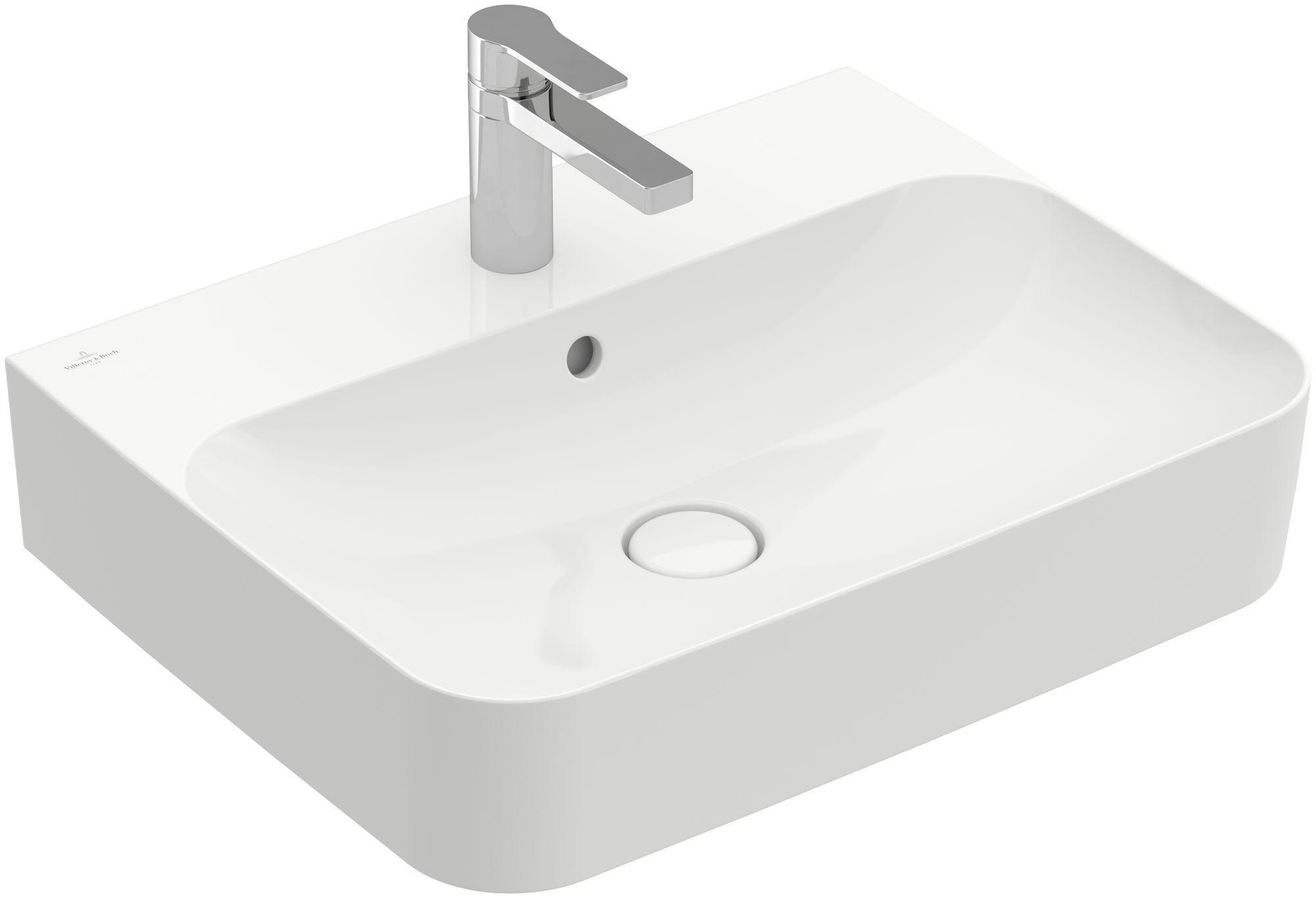 Villeroy & Boch Finion Waschtisch mit Überlauf 1 Hahnloch B:60xT:47cm mit Überlauf 1 Hahnloch weiß Ceramicplus 41686GR1