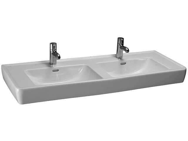 Laufen Pro Doppelwaschtisch B:130xT:48cm 1 Hahnloch mittig mit Überlauf unterbaufähig weiß mit CleanCoat LCC H8149674001041