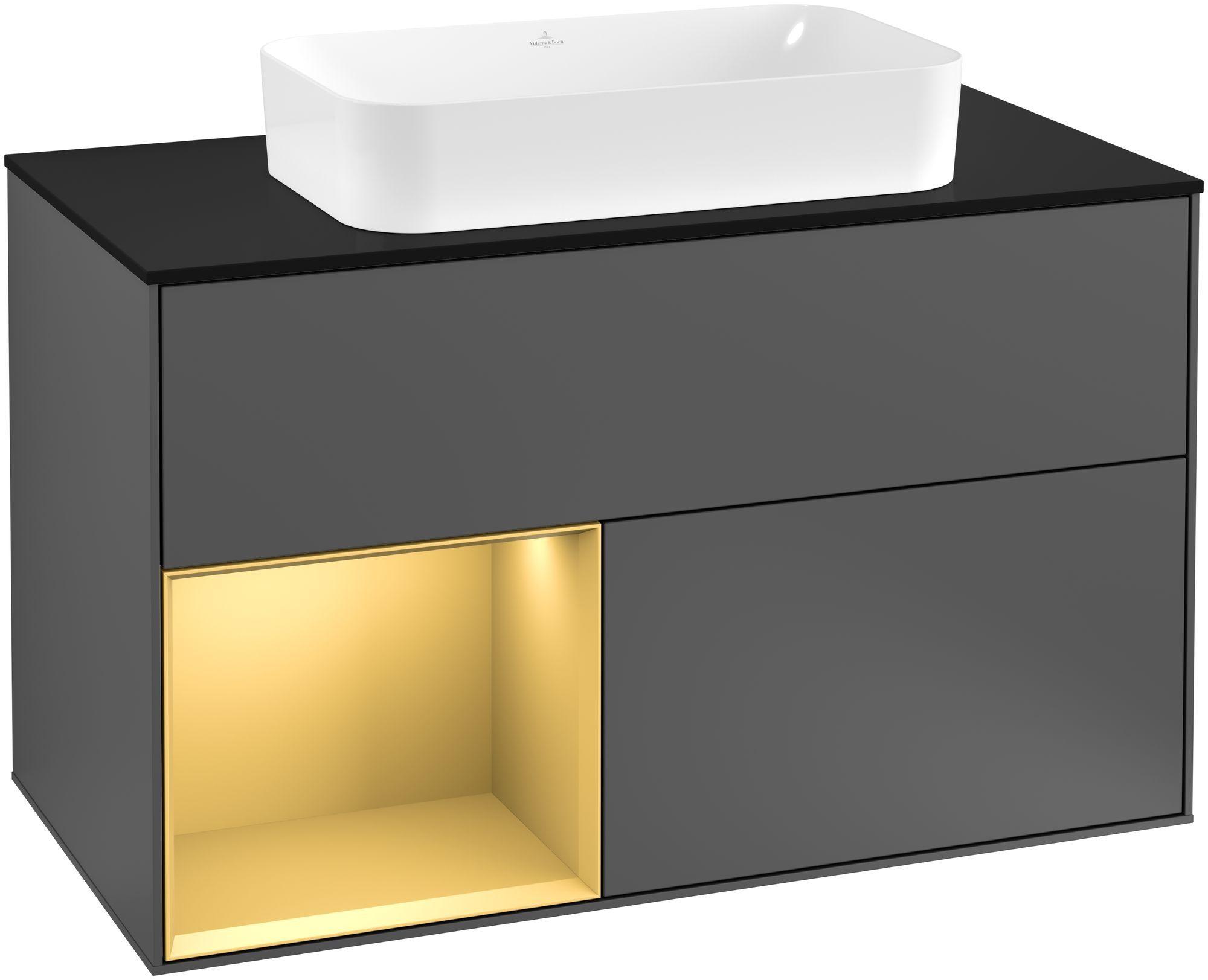 Villeroy & Boch Finion F24 Waschtischunterschrank mit Regalelement 2 Auszüge für WT mittig LED-Beleuchtung B:100xH:60,3xT:50,1cm Front, Korpus: Anthracite Matt, Regal: Gold Matt, Glasplatte: Black Matt F242HFGK