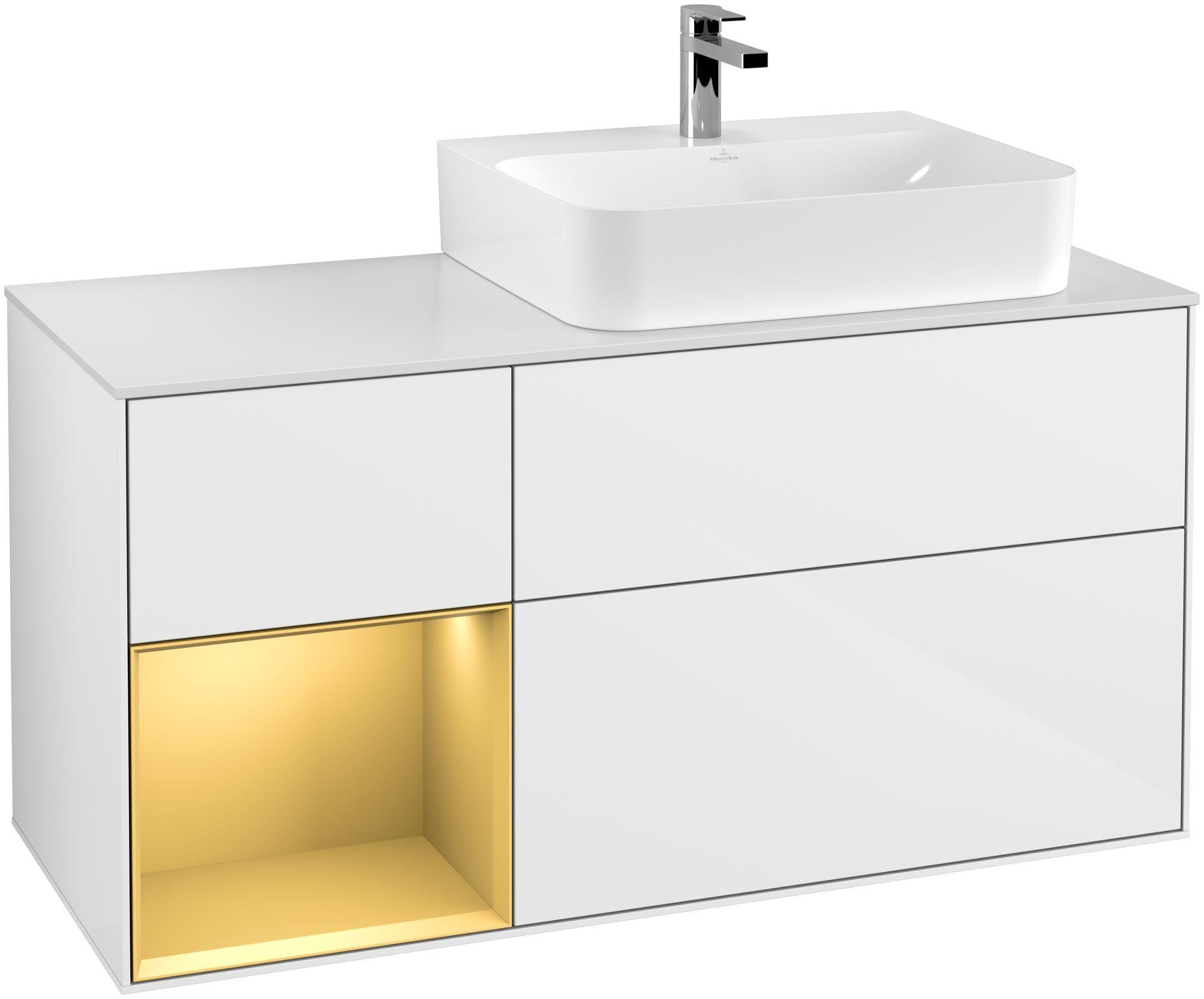 Villeroy & Boch Finion G14 Waschtischunterschrank mit Regalelement 3 Auszüge Waschtisch rechts LED-Beleuchtung B:120xH:60,3xT:50,1cm Front, Korpus: Glossy White Lack, Regal: Gold Matt, Glasplatte: White Matt G141HFGF