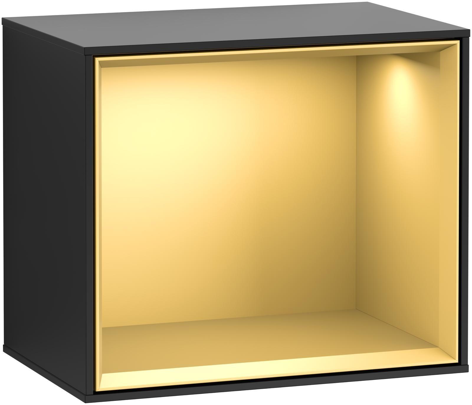 Villeroy & Boch Finion F58 Regalmodul LED-Beleuchtung B:41,8xH:35,6xT:27cm Front, Korpus: Black Matt Lacquer, Regal: Gold Matt F580HFPD