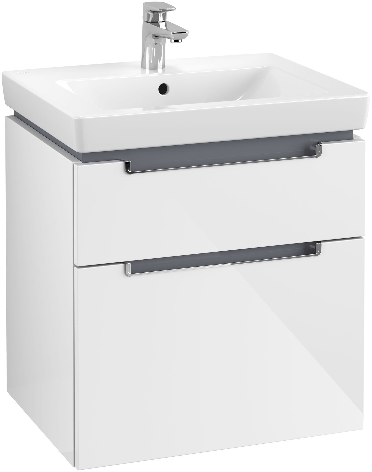 Villeroy & Boch Subway 2.0 Waschtischunterschrank 2 Auszüge B:587xT:454xH:590mm glossy weiß Griffe chrom A90910DH