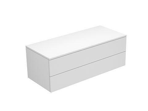 Keuco Edition 400 Sideboard wandhängend 2 Frontauszüge 1050 x 382 x 450 mm weiß/Glas anthrazit satiniert 31752710001
