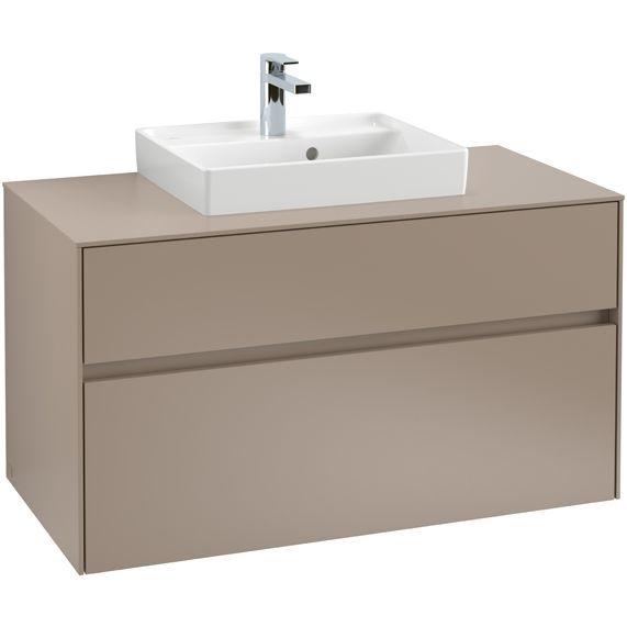 Villeroy & Boch Waschbeckenunterschrank Collaro C016L0, 1000 x 548 x 500 mm, mit Beleuchtung, 2 Auszüge, Waschbecken mittig, Arizona Oak C016L0VH