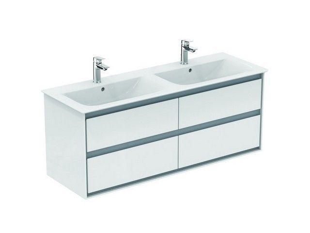 Ideal Standard Connect Air Möbeldoppel-Waschtisch B:134xH:16,5xT:46 cm 1 Hahnloch mittig mit Überlauf Feinfeuerton weiß mit Ideal Plus E0272MA