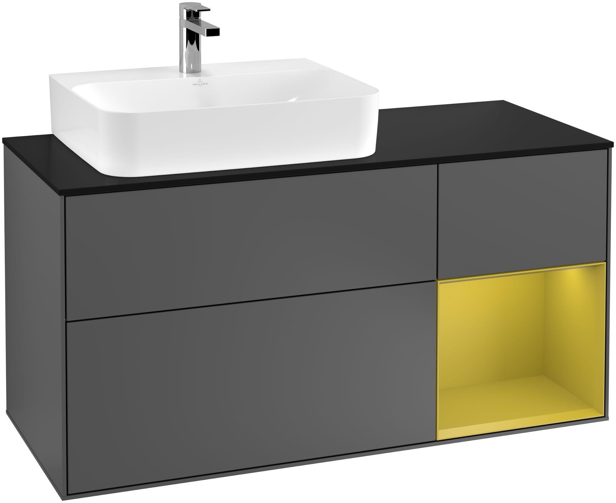 Villeroy & Boch Finion G15 Waschtischunterschrank mit Regalelement 3 Auszüge Waschtisch links LED-Beleuchtung B:120xH:60,3xT:50,1cm Front, Korpus: Anthracite Matt, Regal: Sun, Glasplatte: Black Matt G152HEGK