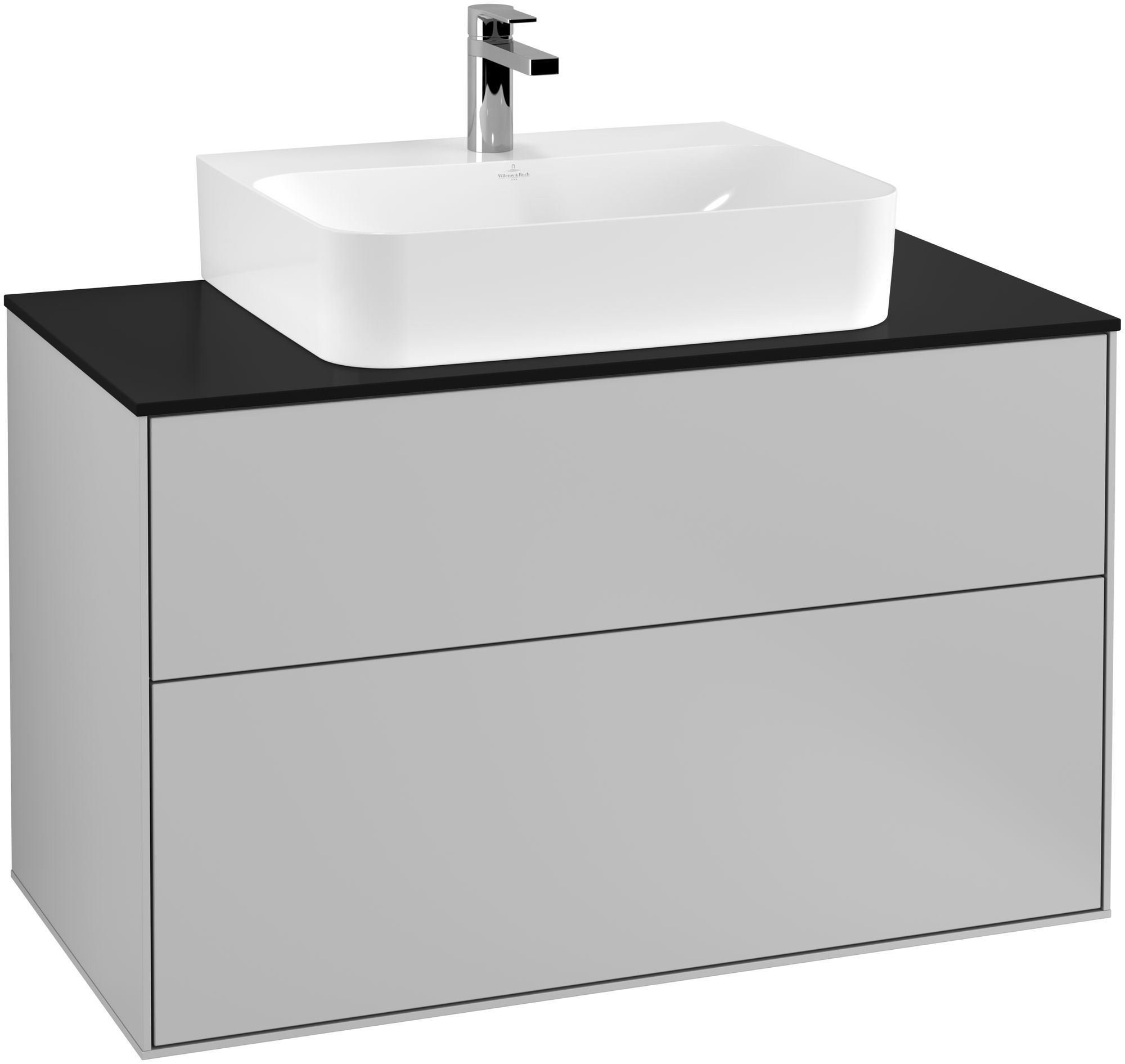 Villeroy & Boch Finion G10 Waschtischunterschrank 2 Auszüge Waschtisch mittig LED-Beleuchtung B:100xH:60,3xT:50,1cm Front, Korpus: Light Grey Matt, Glasplatte: Black Matt G10200GJ