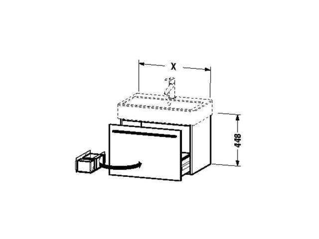 Duravit X-Large Waschtischunterschrank wandhängend B:115xH:44,8xT:44,3cm 1 Auszug weiß hochglanz lack XL604708585