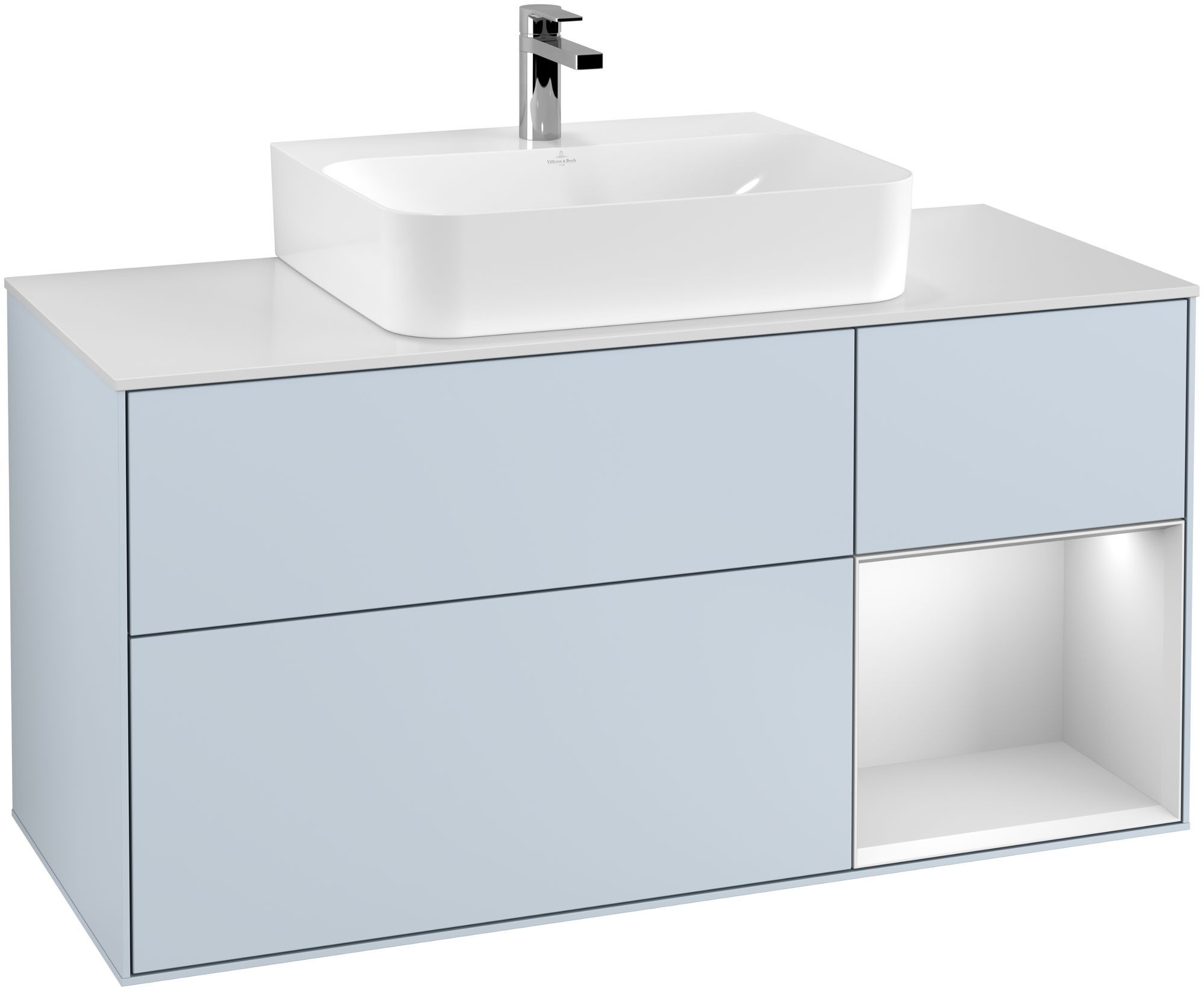 Villeroy & Boch Finion F17 Waschtischunterschrank mit Regalelement 3 Auszüge Waschtisch mittig LED-Beleuchtung B:120xH:60,3xT:50,1cm Front, Korpus: Cloud, Regal: Weiß Matt Soft Grey, Glasplatte: White Matt F171MTHA