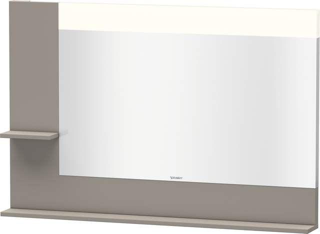 Duravit Vero Spiegel mit LED-Beleuchtung B:120xH:80xT:14,2cm mit Ablagen links und unten basalt matt VE731304343
