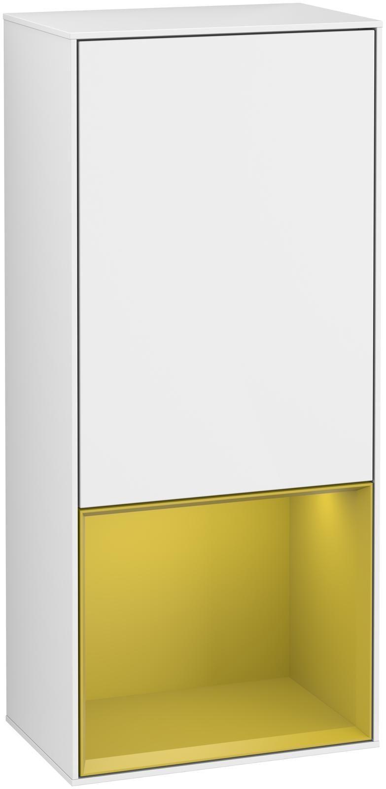Villeroy & Boch Finion F55 Seitenschrank mit Regalelement 1 Tür Anschlag rechts LED-Beleuchtung B:41,8xH:93,6xT:27cm Front, Korpus: Glossy White Lack, Regal: Sun F550HEGF