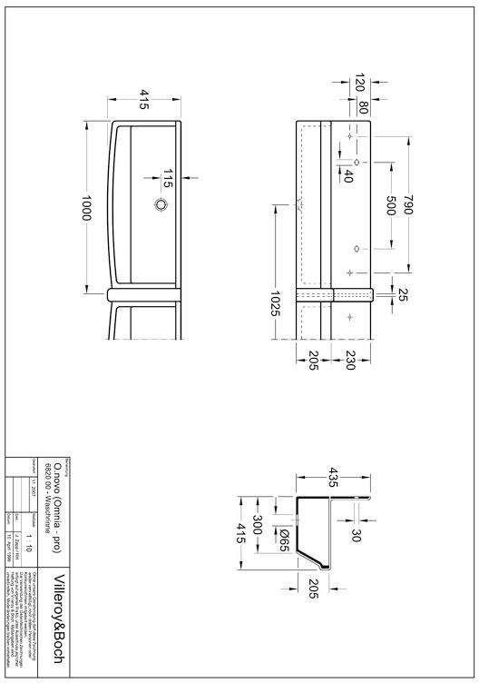 Villeroy & Boch O.Novo Reihenwaschanlage B:100xH:20,5xT:41,5cm weiß 68200001