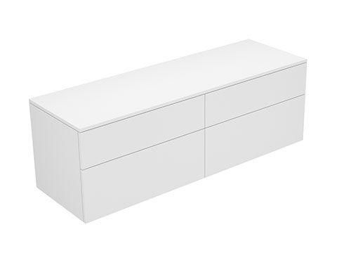 Keuco Edition 400 Sideboard wandhängend 4 Frontauszüge 1400 x 472 x 450 mm titan/Glas titan klar 31767130001